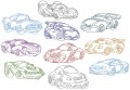 Chubby Cars . Redwork. One set of ten redwork stitch designs for 200mm x 200mm hoops.