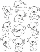 Little Aussie Koala. A set of ten Outline Stitch designs for three hoop sizes. 100x100, 130x180, 150x150.