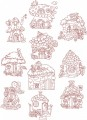 Fairy Cottages Redwork. A set of ten redwork stitch designs for 150mmx150mm and 200mm x200mm hoops.