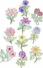 Garden Flowers. 10 Digitised designs for 200mm x200mm hoops