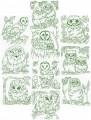 """Owls in the wild.  Set of ten redwork for 6""""x6"""" hoops"""