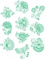 "Jacobean Flower Designs.   Set of ten designs for 6""x6""  150mmx150mm hoops."