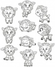 Fluffy Lamb. A set of ten redwork stitch designs for 100mm x100mm hoops.