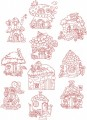 Fairy Cottages Redwork. A set of ten redwork stitch designs for 150mm x150mm hoops.