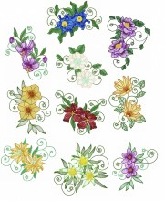 Mountain Flowers is a set is 10 designs with light fill for 150mm x150mm hoops.