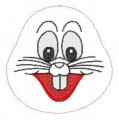 "The machine embroidered face for Bobby Bunny.  Comes in 6""x6"" 150mmx150mm and 5""x7"" 130mmx180mm hoops sizes."