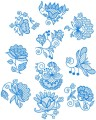 "Jacobean Flower Designs.   Set of ten designs for 4""x4""  100mmx100mm hoops."