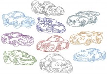 Chubby Cars. Redwork. One set of ten redwork stitch designs for 130mm x 180mm hoops.