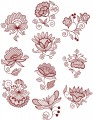 "Jacobean Flower Designs.  Set of ten designs for 5""x7""  130mmx180mm hoops."