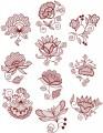 """Jacobean Flower Designs.  Set of ten designs for 5""""x7""""  130mmx180mm hoops."""