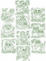"""Owls in the wild.  A set of ten redwork designs for the 8""""x8"""" hoop."""