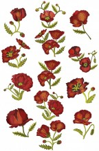 "Wild Poppies. 13 digitised designs for 5""x7"" 130mmx180mm hoops"