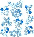 "Blue Symphony set of 10 Design for 6x6"" 150x150mm and 8x8"" 200x200mm Hoops"
