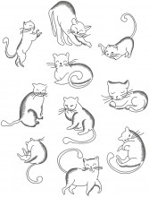 Outline Cats . A set of ten outline, (sketch) stitch designs for 100mm x100mm hoops.