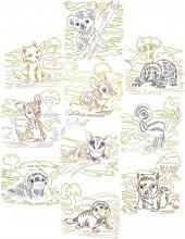 Aussie zigzag animals, 10 designs in  outline stitch for 150mmx150mm and 200mm x200mm hoops