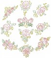 Floral Beauties. Outline colourwork. A set of ten outline stitch designs for 200mm x200mm hoops.