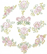 Floral Beauties. Outline colourwork. A set of ten outline stitch designs for 150mm x150mm hoops.