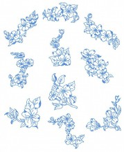 Dogwood Roses. A set of ten redwork stitch designs for 100mm x100mm hoops.
