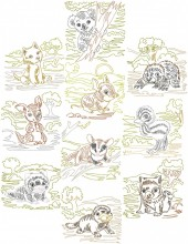 Aussie zigzag animals, 10 designs in outline stitch for 100mmx100mm and 130mm x180mm hoops