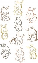 Cute Bunny. A set of ten outline, (sketch) stitch designs for 200mm x200mm hoops.