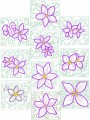 Clematis Fantasy Appliqué. Two sets of ten appliqué designs for 150mm x150mm hoops and 200mm x200mm hoops.