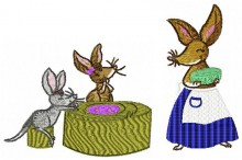 Mother Bilby is serving up a delicious cake to Rosa and Rusty.
