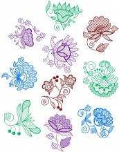 Jacobean Flower Designs.   Set of ten designs for 4x4, 5x7, 8x8; 100x100,130x180, 150x150 and 200x200 hoops
