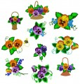 "Delicate Pansies Set of ten designs for 6""x6""  150mmx150mm Hoops"