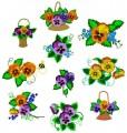 "Delicate Pansies Set of ten designs for 6""x6""  150mmx150mm Hoops"