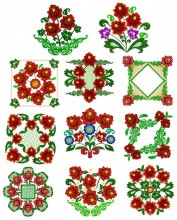 """The full eleven designs for the Russian Splendour 6""""x6""""  150mmx150mm hoops."""