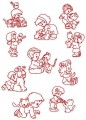 00: Sweet Friends Set of 10.  100x100mm Hoop Sketch Outline