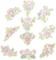 Floral Beauties. Outline colourwork. A set of ten outline stitch designs for 150mmx150mm and 200mm x200mm hoops.