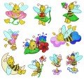 00:  Busy Bees. Set of 10.  100x100 Hoop