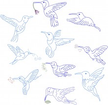 Hummingbird Flight.  Set of 10 designs for 150x150mm hoops.