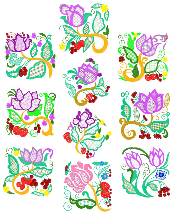 Jacobean Floral Blocks for 6 quot x6 quot  150mmx150mm and 8 quot x8 quot  200mmx200mm    Quilt Block Clipart