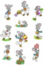 "Stick Mouse.  This is a combination set of 10 manually digitised designs for 4""x4"", 100mm x 100mm hoops and 5""x7"" 130mm x 180mm hoops."