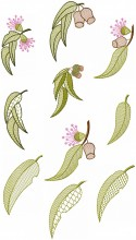 Decorative Australian Gumnuts and leaves #2 . Set of ten designs for 100mmx100mm hoops