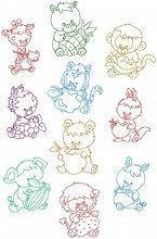 Zoo Friends in Redwork. One set of ten redwork stitch designs for 150mm x 150mm and 200mm x 200mm hoops