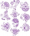 "Jacobean Flower Designs.   Set of ten designs for 8""x8""  200mmx200mm hoops."