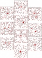 Clematis Fantasy Redwork. Two sets of ten redwork stitch designs for 100mm x100mm and 130mm x 180mm hoops.