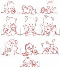 Sewing Kitty designs - 10 in each hoop size, a total of 20 designs