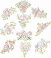 Floral Beauties. Outline colourwork. A set of ten outline stitch designs for 100mmx100mm and 130mmx180mm hoops.