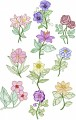 Garden Flowers. 10 Digitised designs for 150mm x150mm hoops