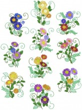 Daisies. A set of ten designs for 200mm x 200mm hoops.