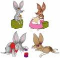"Our Bilby family enjoying some quiet time at home.  Please note the ""combined"" design of Rusty and Mother Bilby is not provided in his set.  All four Bilby characters are supplied as shown"